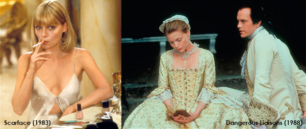 Michelle Pfeiffer in Scarface and Dangerous Liaisons